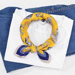 Wholesale Yellow Bandana Silk Scarf Women Horsehead And Harness Printed Head Scarf Foulard Square Scarves cm Neckerchief
