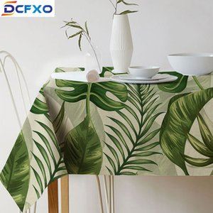 Wholesale Green Printed Tablecloth Cotton Linen Table Cloth Art European Burlap Fabric Table Cover Home Party Decoration