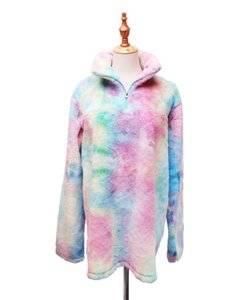 Wholesale Adults And Kids Tie Dye Sherpa Rainbow Pullover Fleece Sweatshirt For Women And Kids
