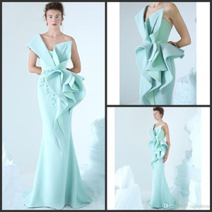 ingrosso vestito da sera sexy linea glamorous-2019 New Mermaid Evening Dress One Shoulder Ricami Ruffles Prom Gowns Glamorous Dubai Fashion Piano Lunghezza abito formale
