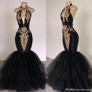 Wholesale 2019 Black Prom Dresses with Gold Appliqued Mermaid South Africa Formal Evening Dress Halter Neck Sweep Train Occasion Party Dresses