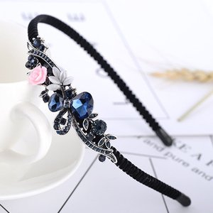 Wholesale hairband women Fashion New Vintage Hair Wear Ladies Hair Accessories Blue Crystal Butterfly Headband Navy Flower Rhinestone Hairband