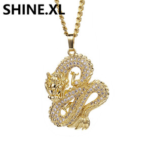 Wholesale Hip Hop Jewelry Iced Out Zircon Gold Color Dragon Pendant Necklace Creative Party Jewelry Exquisite Long Necklaces for Men Women