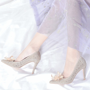 Cinderella Prom crystal shoes Stiletto high heels female single shoe rhinestone Wedding party dress shoes pointed toe Champagne