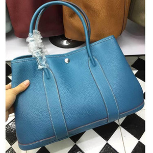 Elegant2019 Portable Leather Genuine Baotou Layer Litchi Grain Cowhide Woman Bag 36cm Tuba Garden on Sale