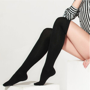 Wholesale 1 Pair Fashion Women s Cotton Sexy Thigh High Over The Knee Stockings Girls Black Solid Sexy Knee High Stocking Dropshipping