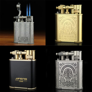 Luxury Vintage style classic retro design carve patterns jet torch Cigarette lighter Double blue scorch flame windproof butane refillable