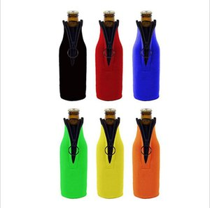 Wholesale beer bottle insulators resale online - Beer Bottle Cooler Sleeves with Ring Zipper Collapsible Neoprene Insulators Party Drink Coolies for oz ml Bottles FFA2348