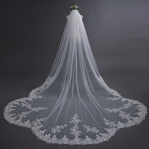 Wholesale 3 Meter Ivory Cathedral Wedding Veil with Comb Long Lace Edge Bridal Veil High Quality Wedding Accessories Real Pictures