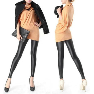 Wholesale Girl's Women Sexy Black Faux Pu Leather Leggings Women Skinny Pencil Pants Trousers For Dropshipping good quality
