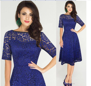 Womens Elegant Sexy Lace See Through Tunic Casual Club Bridesmaid Mother of Bride Dress Skater A-Line Party Dress
