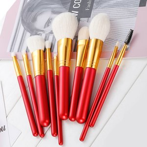 Wholesale 10pcs Wool Makeup Brushes Set Red Handle Wood Cosmetic Beauty Tool Kit Eye Shadow Foundation Professional Brush With Black Bag Hot HXT