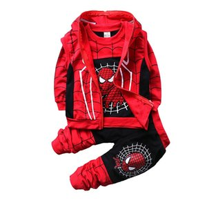 Free DHL INS Toddler Kids Boys Spiderman Tracksuits Sleeveless Hooded Coat+Sweatershirts+Pants 3pieces Suits Autumn Childdren Boys Clothing on Sale