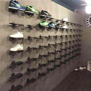 Wholesale Metal Upper Wall Shoes Display Stand Racks Angle Adjustment Shoe Support Holders With Antiskid Rubber Pad
