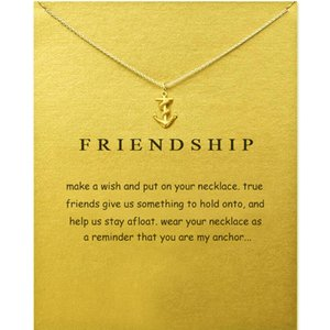 Wholesale Anchor Pendants Necklace With Card Friend Ship Alloy Pendant Women Necklaces Gold Silver Colors Fashion Jewelry