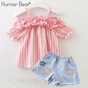 Wholesale Humor Bear Summer Baby Girls Clothes 2019 Brand New Strap Stripe Pleated lace Girls' Clothing Sets Condole Belt Tops+Pant