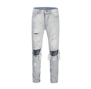 Wholesale Skinny Light Blue Mens Jeans High Fashion Washed Broken Hole Denim Pants Zipper Opening Design Slim Fit Homme Rippedxxloffow