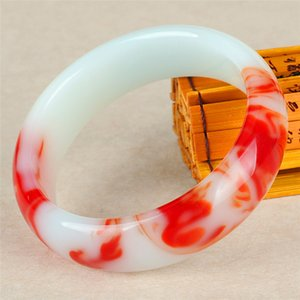 Wholesale Genuine Natural Color Jade Bangle Red White Bracelet Charm Jewellery Fashion Accessories Carved Amulet Gifts for Women Her Men