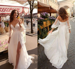 Wholesale New Detachable Long Sleeves Wedding Dresses Bridal Gowns Sweetheart High Slit Beaded Lace Pleated Wedding Bridal Gowns Cheap vestidos De