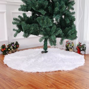 Wholesale Christmas Tree Skirt White Xmas Tree Skirts Luxury Faux Fur Christmas Decorations Large Round Thick Plush For Christmas Tree Ornaments