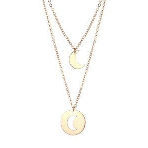 Wholesale 1pcs Necklace Beautiful Decor Elegant Hollow Out Gift Alloy Necklace Moon Pendant for Friend Lover Woman Mother