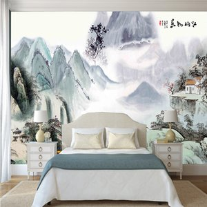 Wholesale 3D TV sofa bedroom wall decoration Chinese style picturesque natural landscape ink painting wall paper custom ancient home decor