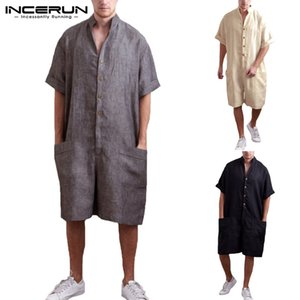 Wholesale NEW Beach Vacation Man Overall Romper Baggy Pants Casual Ramper Short Sleeve Playsuits Button Big Pockets Loose Jumpers Joggers