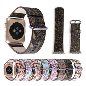 Flower Printing Leather Bracelet For Apple Watch Band 42mm 38mm Watchband For iWatch Series 4 3 Strap Women