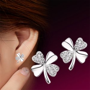Wholesale Fashion Jewelry Silver Plated Stud Earrings Lucky Scrub Flower Sweetheart Accessories Vintage Earring Women New