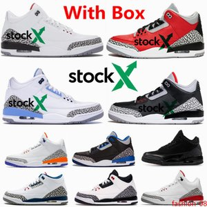 3 Red Cement Chicago UNC Men Basketball Shoes Black White Cement True Sport Blue Fire Infrared 3s CHI Sneakers With Free Shippment