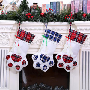 Wholesale Plaid Christmas Gift Bags Pet Dog Cat Paw Stocking Socks Xmas Tree Hanging Pendant Toy Doll gifts Decor for the new year