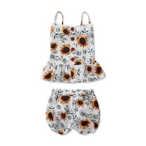 Infant Little Girls Sunflower Suits Sleeveless Back Wood Button Square Collar Vest Tops Tees + Pants 2pcs Set Children Girls Clothing Outfit on Sale