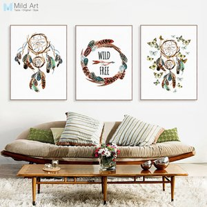 Wholesale ome Decor Painting Calligraphy Vintage Indian Dream Catcher Feather Butterfly Posters Nordic Living Room Wall Art Pictures Home Decor Can