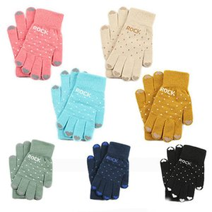 Wholesale Free DHL Winter Warm Outdoor Ski Knit Fashion Gloves Thick Wool Cotton Five Finger Mittens Cute Knitting Gloves for Women Girls