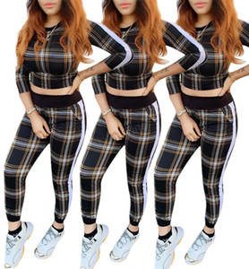 Wholesale Women plaid striped Tracksuit Hoodie Long Sleeve pullover Tops Pants Trousers Two Pieces Outfits set Casual Sport Suit LJJA2912