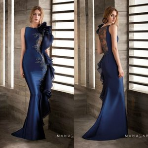 Wholesale Mermaid Lace Beaded 2020 African Evening Dresses Satin Navy Blue Prom Dress Sexy Cheap Formal Party Gowns