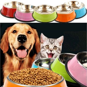 Wholesale dog bowls Stainless Steel Puppy Dog Feeder Feeding Food Water Dish Bowl Pet Dogs Cat New dog bowl stainless steel