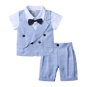 Wholesale Baby Boys Bow Tie Shirt Plaid Pants Suits Summer Kids Boutique Clothing Little Gentleman Short Sleeves PC Set