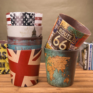 Coffee Shop Printed Paper Basket Full Body Waterproof Large Size Home Leather Waste Bins Creative Design Storage Without Cover BH0812 TQQ on Sale