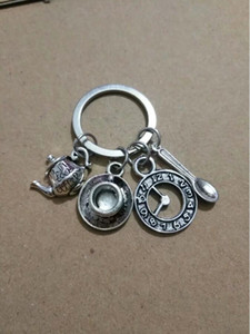 Wholesale Vintage Silver Clock coffee pot coffee cup spoon Charm Keychain Fit Key Chains Accessories Jewelry - 136