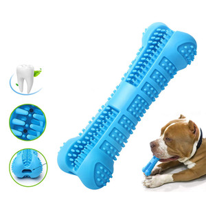 Wholesale Pets Toothbrush Silicone Chew Toy Teddy Teeth Cleaning Small Dog Bone Shape Stick Perfect Dog Cleaning Mouth Teeth Care Products