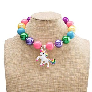 Wholesale Childrens Jewelry Pendants Chunky Necklace Kids Girls Unicorn Jewellery Toddler Cartoon Acrylic Chain Necklace