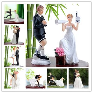 Funny Bride Groom Figurine Wedding Cake Toppers Resin Decor Lover Couples Gift Cake Accessory Free Shipping J190723 on Sale