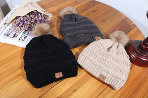 2019 Baseball Caps Winter Knitted Hat Warm Cap CC Hats Knitted Hats Gorro Bonnet pom-pom for Adult Hat Warm Cap for Winter 54-60cm 9 Colors