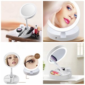 Portable LED Lighted Makeup Mirror Vanity Compact Make Up Pocket home mirrors Vanity Cosmetic Mirror 10X Magnifying Glasses FFA2929