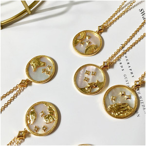 Wholesale stars constellations for sale - Group buy Gold Stainless Steel Star Zodiac Sign Neckless Constellation Pendant Necklace Women Gold Chain Necklace Women Jewelry Gift with Box