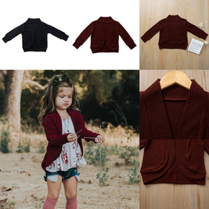 Wholesale Baby Boy Girl Knitwear Sweater Ins Autumn Long Sleeve Kid Cotton Cardigan Wine Red Black Coat