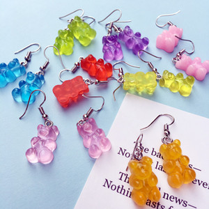 Sweet Cartoon Animal Bear Drop Earring Resin Colorful Candy Color Lovely bear Earrings For Women Girl Funny Party Jewelry Gift