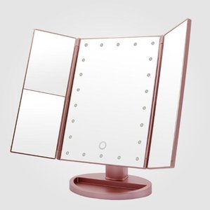 Foldable Magnifying Mirrors 3X 2X 1X Table Desktop Mirrors Makeup LED Vanity Mirror 3 Folding Adjustable Cosmetic Tool