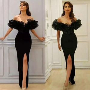 Wholesale Black Ruffle Evening Dresses 2020 Mermaid Off the Shoulder Short Sleeves High Slit Islamic Dubai Saudi Arabic Long Prom Gowns
